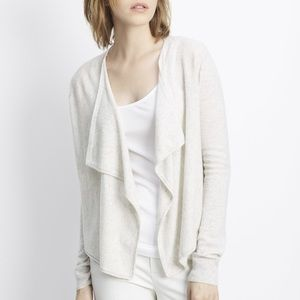 VINCE 100% Cashmere Drape Front Cropped Cardigan